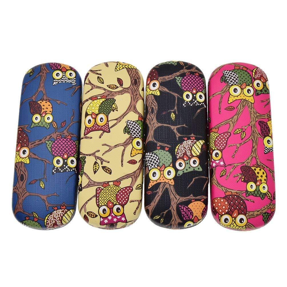 4df31e7b38fc Get Quotations · Towashine Cartoon Owl Print Hard Shell Eyeglass Case  Protective Holder Random Color