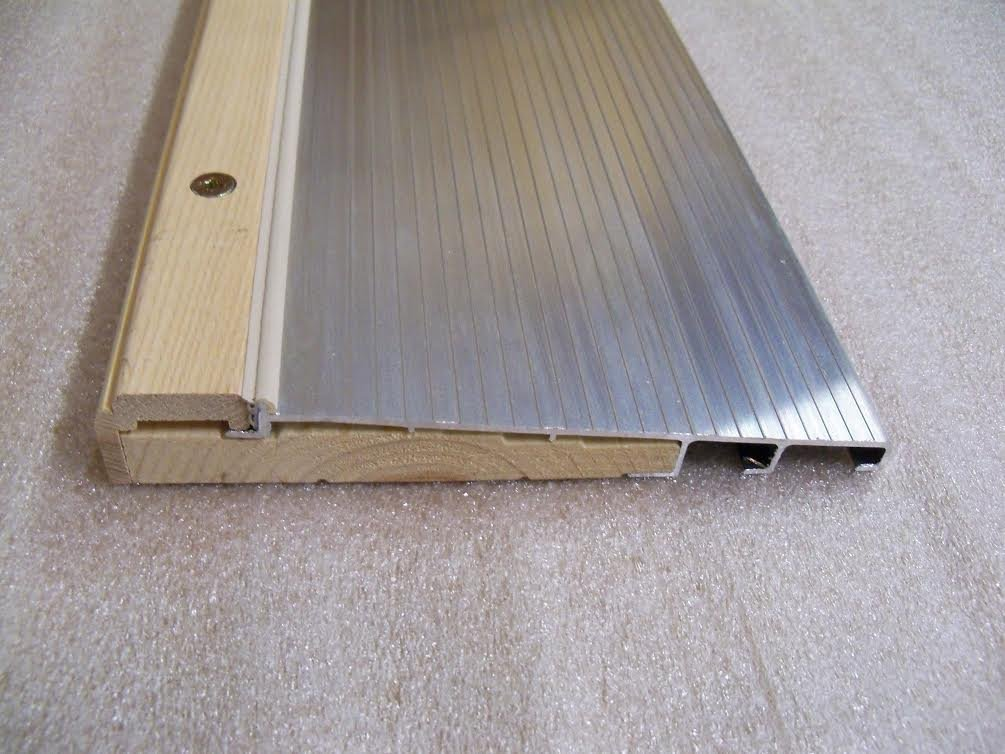 """7 13/16"""" Wide Inswing Threshold with Ash Cap with Pine Base (3' (36""""), Anodized Aluminum (Mill)) (Silver Color)"""