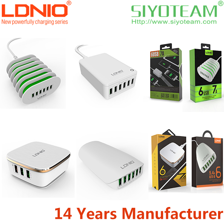flat mobile phone charger LDNIO 5.4A-7.0A Auto ID Quick and Stable universal flat mobile phone charger