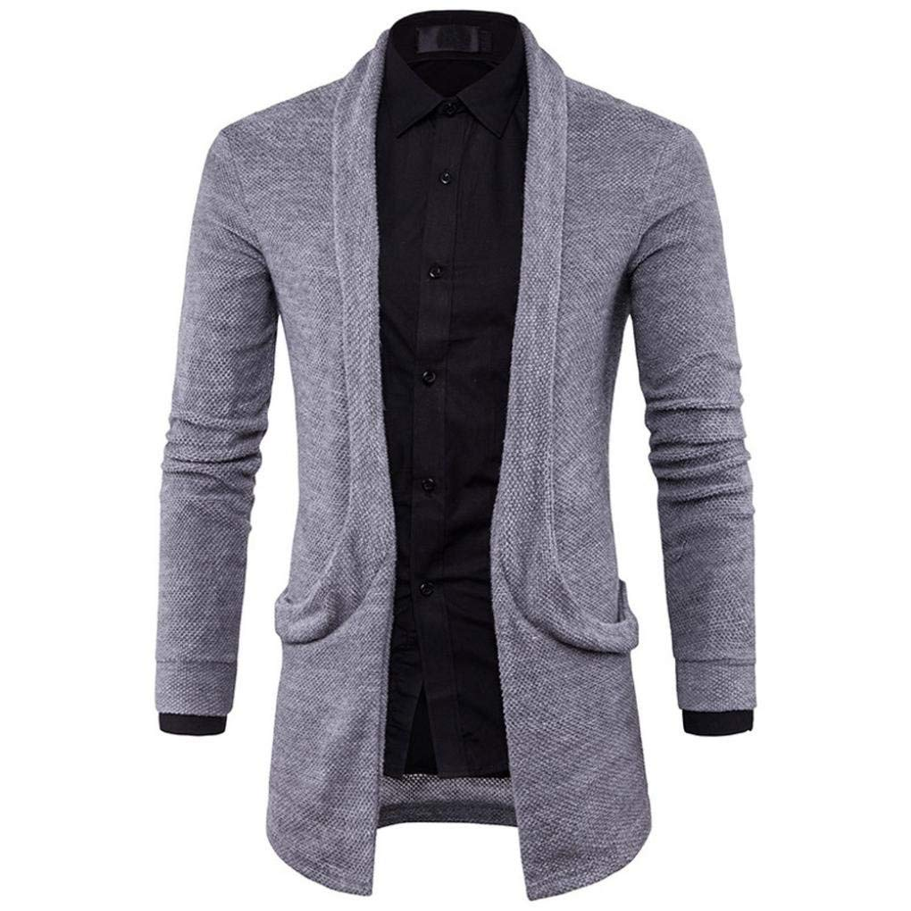 HTHJSCO Mens Casual Long Open Front Slim Sweater Cardigan, Mens Sweater Fashion Solid Long Trench Coat Jacket