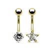 Stainless Steel Gold Plated Star Round Square Heart Cubic Zircon Navel Belly Ring Piercing