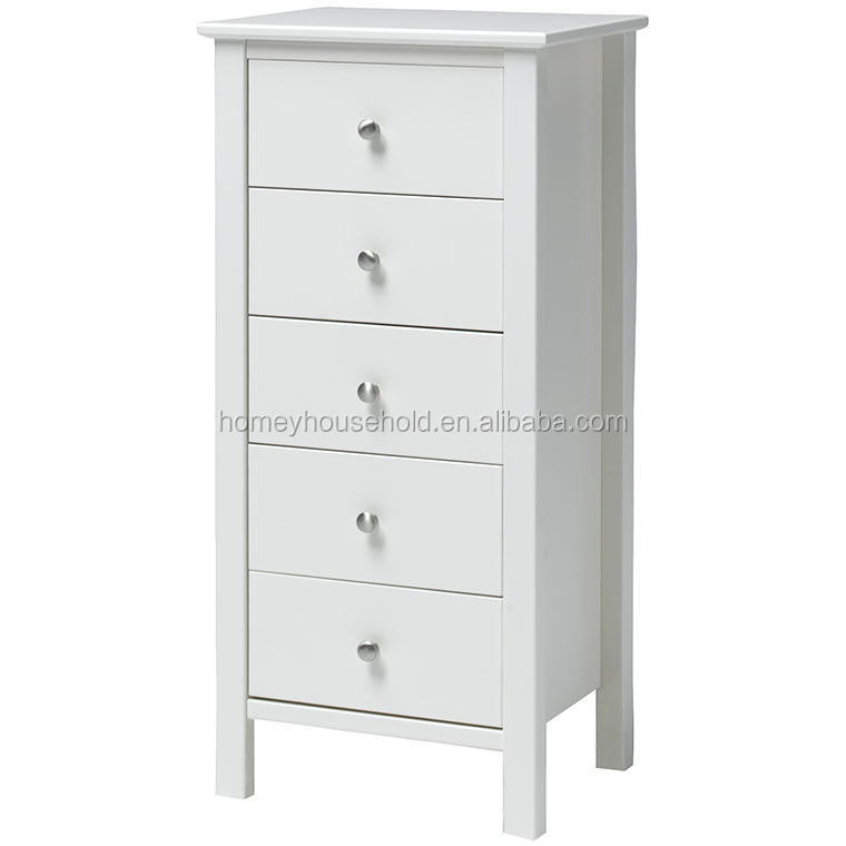 Stockholm 5 Drawers Tall Boy White Living Room Chest Cabinets