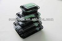 High quality PS black disposable plastic box for packing fruit raw meat fresh fish