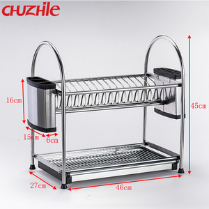 Dish Rack Stainless Steel Two Tier Draining Rack Storage Rack with knife Holder