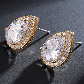 Cubic Zirconia Natural White Zircon Cz Stone Gold Plated 925 Sterling Silver Drop Stud Earrings Women