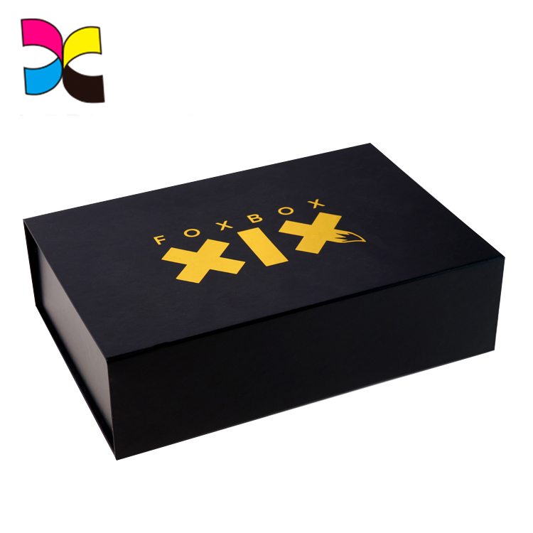 Customized Printing Lid And Base Structure Luxury Logo Packaging Black Jewelry Box