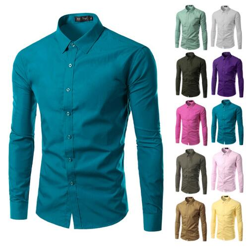 Discount walson Fashion Brand Mens Shirt Long Sleeve Camisa Masculina Men's Clothing Casual Dress Shirts Solid Color Work Wear M