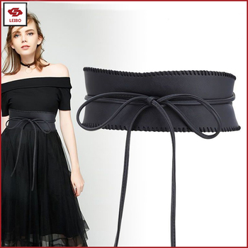 c202a41e25d Women Wide Soft PU Faux Leather Tied Belt Elegant Super Wide Leather PU  Waistband Western Trendy