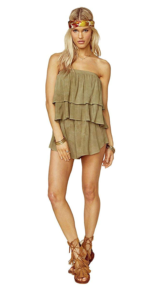 5911485bd634 Get Quotations · Blue Life Marion Tiered Strapless Festival Romper Spanish  Olive Green Tie Dye Shorts
