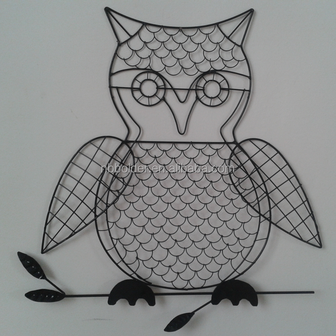 Metal wall hanging black brushed metal wire owl design wall art decor for jewerly display
