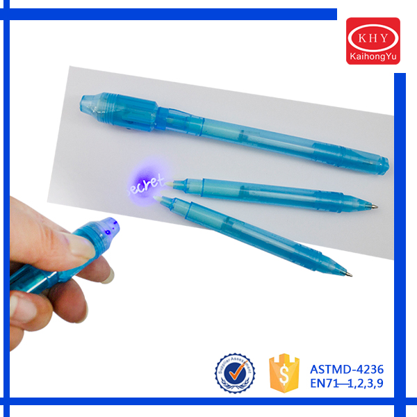 Plastic material magic UV light LED invisibleink pen