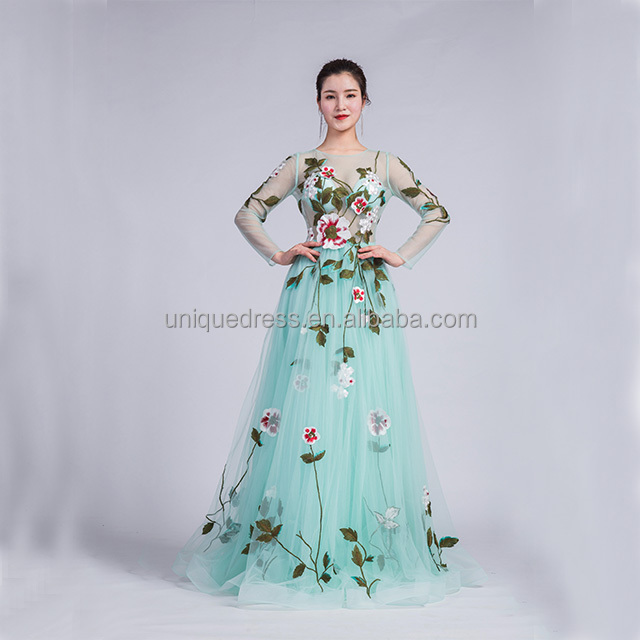 432a64e17 Wholesale A-Line Tulle green prom evening dress long gown with Printed  Flowers