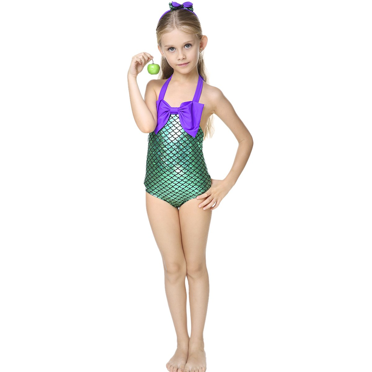 107ff249dec98 Little Girls swimsuits for girl one piece Mermaid Princess Toddler Bikini  Swim Bathing Suit+headband