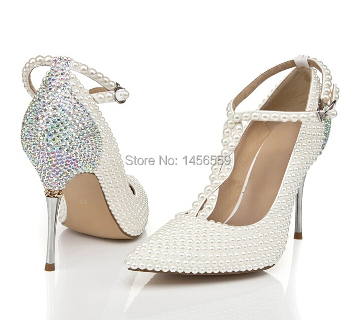 ae7f35a9e02b Get Quotations · Hot Sale White Pearl Rhinestone Women Wedding Shoes Pumps  Genuine Leather Pointed Toe High Heels Party