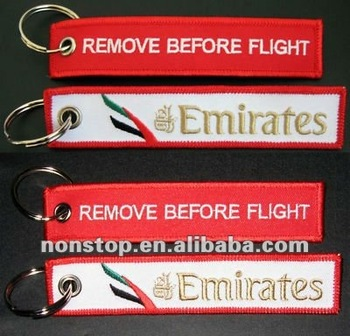 Emirates Airline bag tag Remove Before Flight keyring