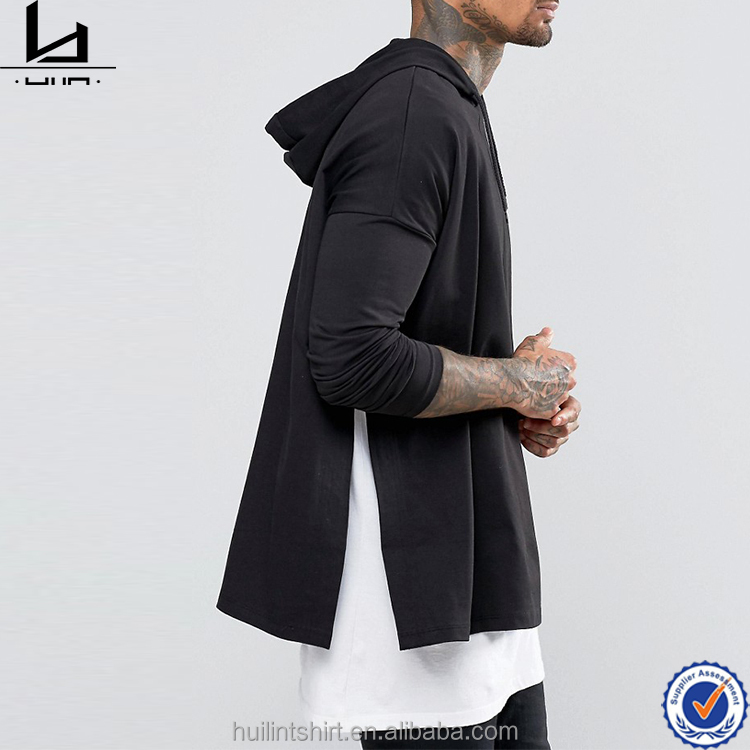 Fashion extreme oversized cloak men plain balck tee with hood and side split hem t-shirt