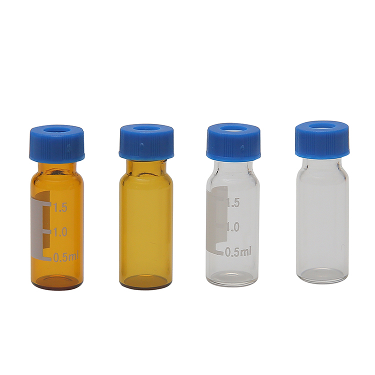 Cyberlab 9 mm Screw Top Amber Glass Vials, 1.5/2.0ml for HPLC/GC, USP Type 1 with White Si/Red PTFE Septa