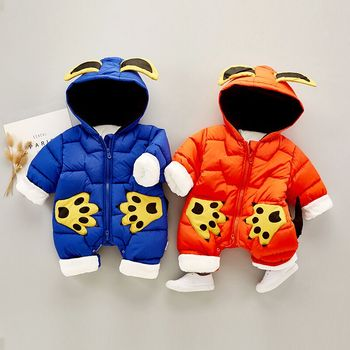 Fashion Korean version new arrival winter baby keep warm jumpsuit cartoon appliqued hoodie design infant rompers wholesale