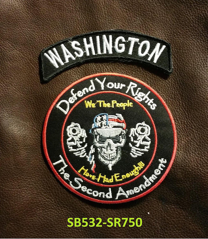 WASHINGTON Defend Your Rights Small Badges Set for Biker Vest