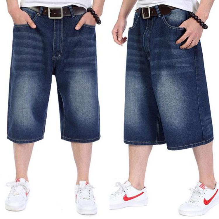 eb67d5e5d7 Buy Hip hop short blue baggy jeans for men rapper  39 s rap pants boy  skateboard denim trousers loose calf-length jeans big size 30-46 in Cheap  Price on ...