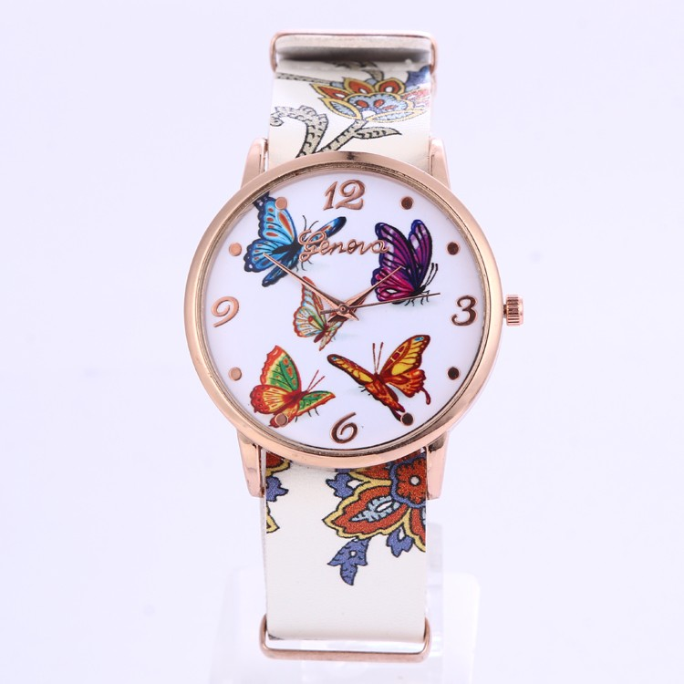 Stylish Women 2016 Spring Style Butterfly Print Wrist Watch Women Quartz Geneva Watch