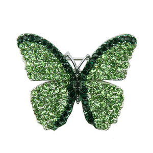 Brand New Cute Green Butterfly Brooch Fashion Crystal Rhinestone Brooches for Women Indian Wedding Jewelry Gifts