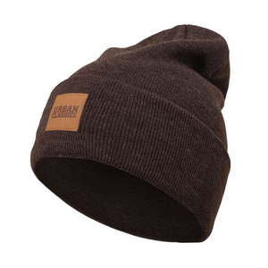 Solid color leather patch famous name brand winter hats/beanie hats
