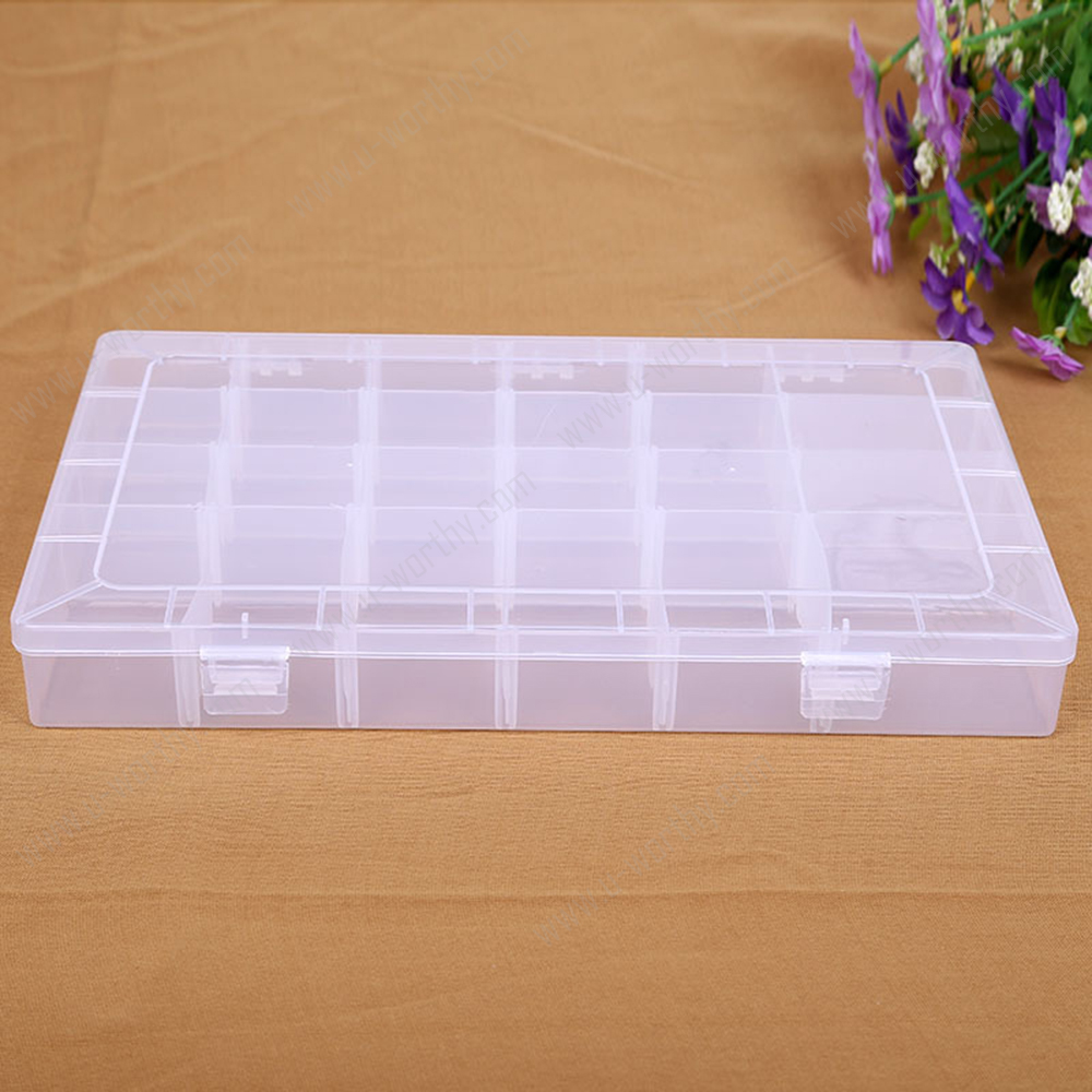 U-PSB1-024-4 External Size: 35*22*5 cm Simple Plastic Storage Box with 24 Compartments