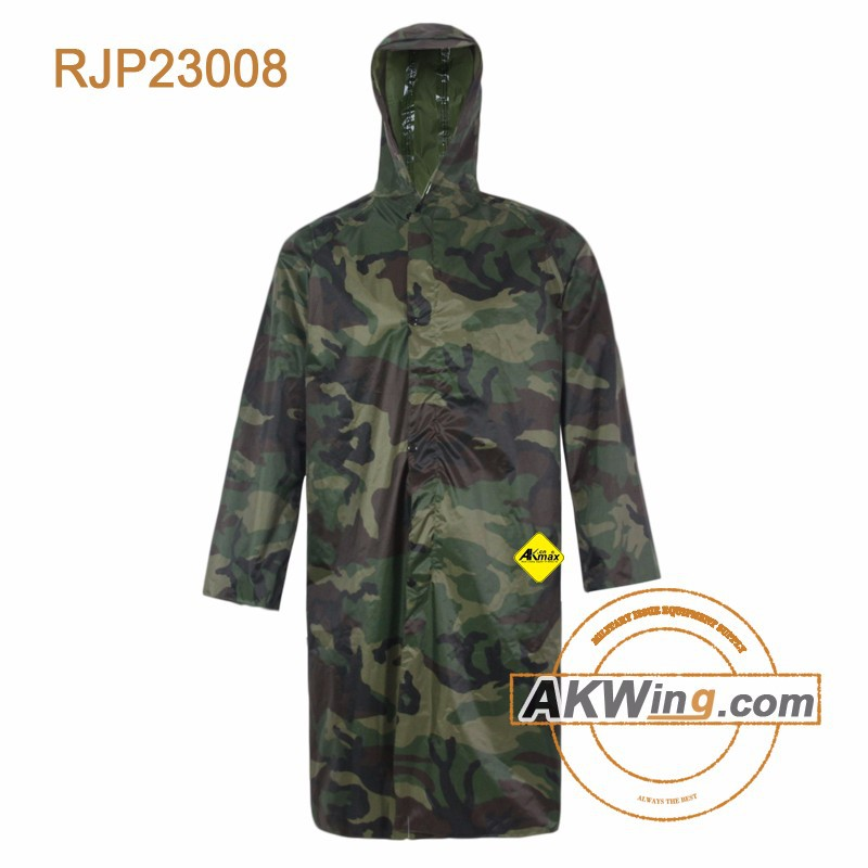 Polyester PVC Raincoat Woodland Jacket Army Rain Suits Of Military Camouflage