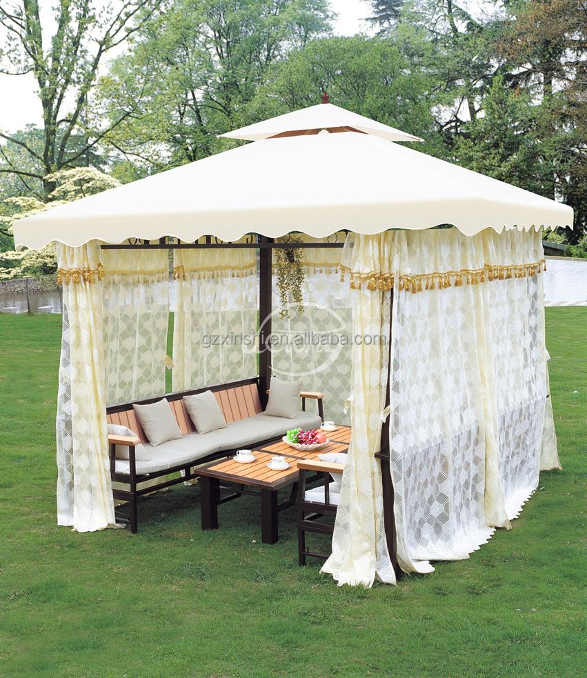 Pabell n de hierro barato con tela impermeable techo toldo for Carpas para el jardin