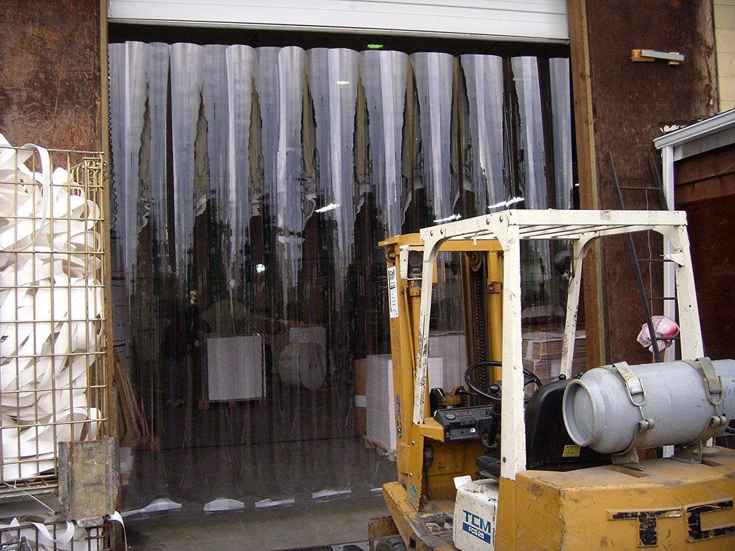 strips with 50/% overlap 48 in. 4 ft Hardware included common door kit height Blue Weld 8 in Strip-Curtains.com: Strip Door Curtain 10 ft width X 120 in.