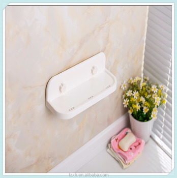 Plastic Wall Mounted Adhesive Bathroom Corner Shelf