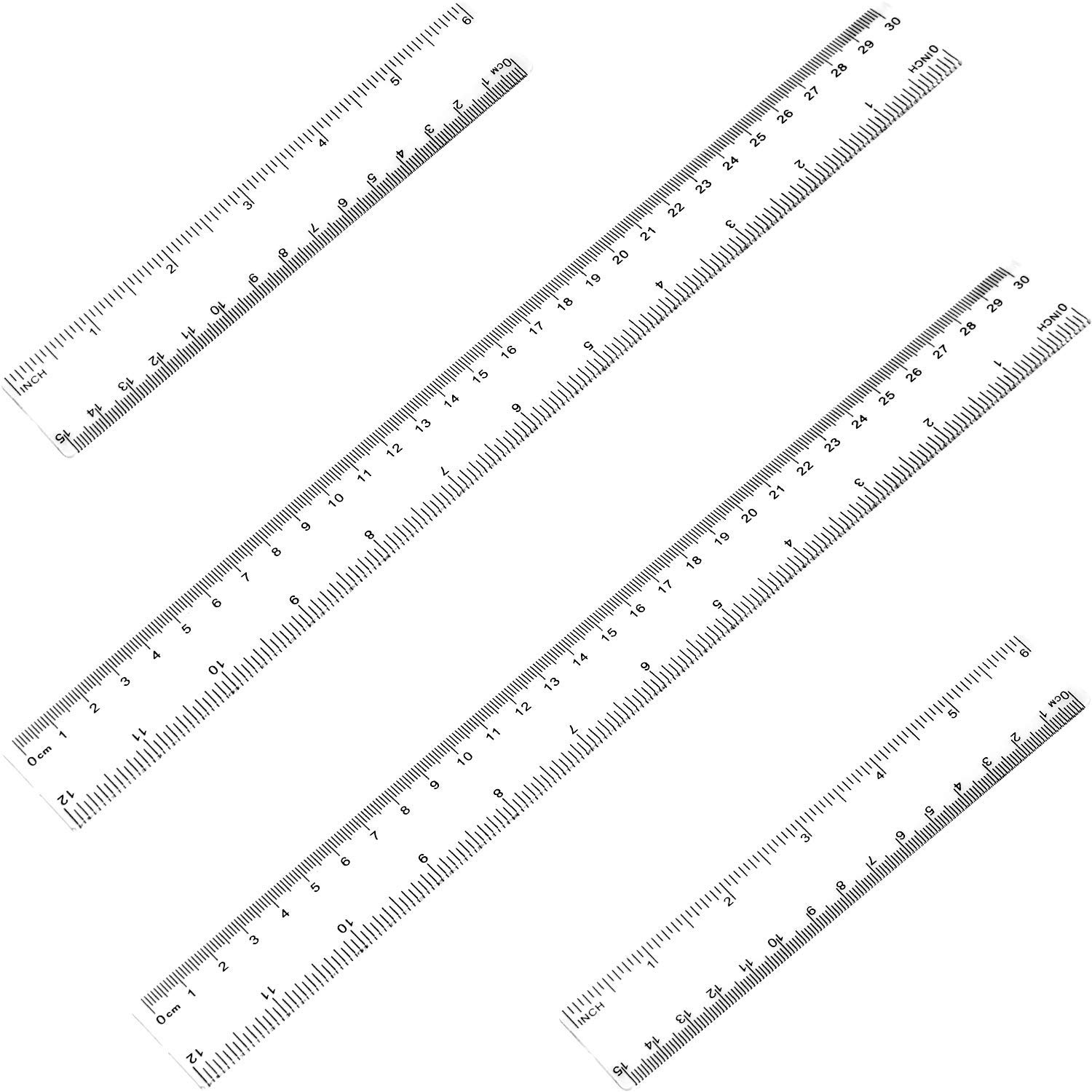 Ruler 12 inches & 6 inches ATOOL Plastic Ruler Straight Ruler Plastic Measuring Tool for Student School Office, Clear, 4 Pack