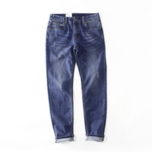 Fashion Dark Blue Denim <span class=keywords><strong>Broek</strong></span> Casual Straight Mid-taille <span class=keywords><strong>Jeans</strong></span> <span class=keywords><strong>Mannen</strong></span>