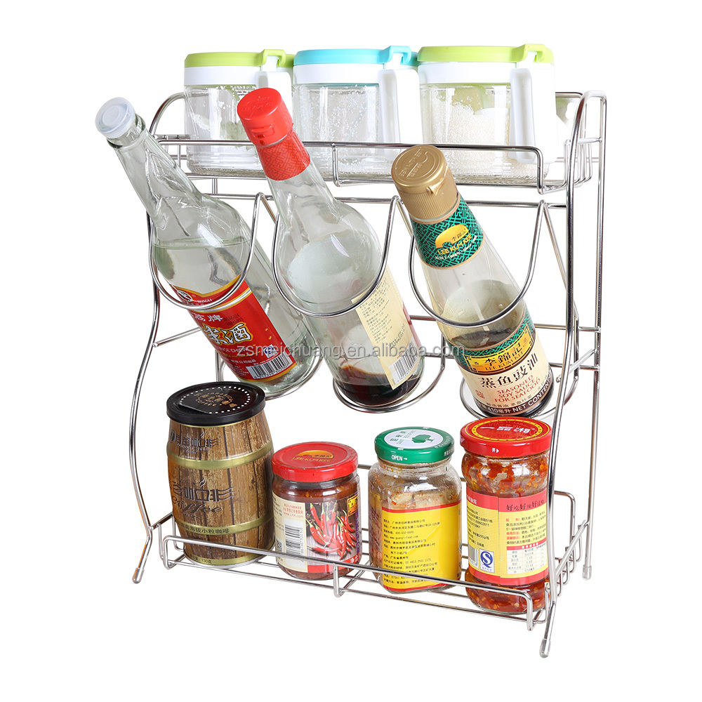 Stainless steel herb and spice seasoning shelf <strong>rack</strong> of spices