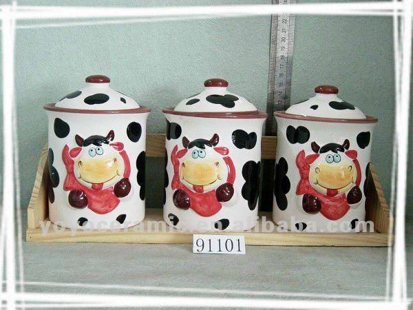 Vaca pintado recipiente de cerámica botellas y jarras de ...
