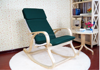 K/D birch wood high back rocking chair with cushion