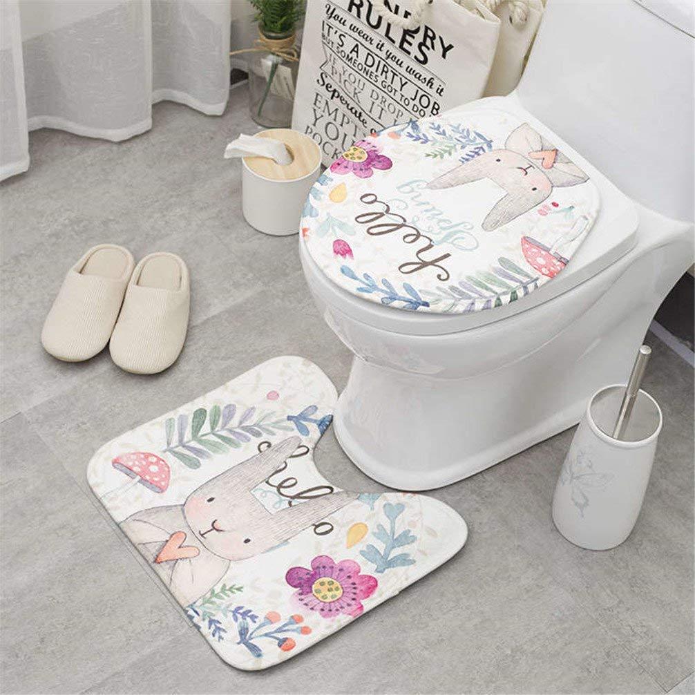 2Pcs Set Cartoon Cute Toilet Bath Mat Rabbit Animal Pattern Bathroom Set Mat 1 2pcs