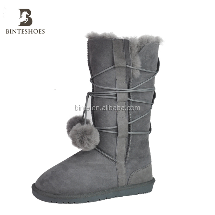 high demand genuine leather product women shoes boots size 36-41high heel pompon shoe lace long winter sheepskin snow boot shoe