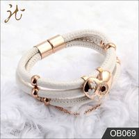 Dongguan Factory Offer Stainless Steel Leather Bracelet