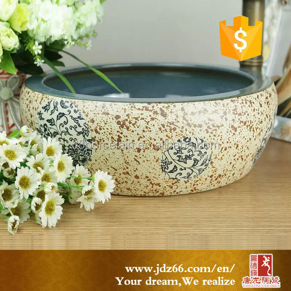 Round counter top ceramic italian wash basin