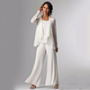 2018 Elegant White Evening Mother of The Bride Dress Long Sleeve Jackets Pant Suits Women Groom Gowns