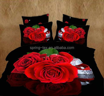 China manufacturer Beautiful romantic Red rose 3d bedding set in Queen, King size