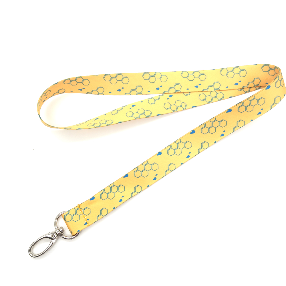Bright yellow polyester ribbon with simple hanging lanyards