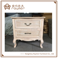 Wood unfinished bedroom furniture 2 drawers Chinese bedside table