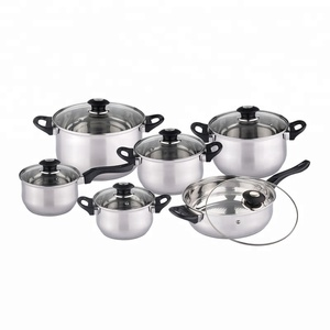 SKU jiangmen factory wholesale 12pcs happy baron stainless steel cookware set KH-1005