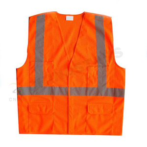 ANSI safety vest , orange color 5 point breakaway safety vest, PPE clothing suppliers