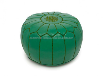 Miraculous Amazing Green Color Moroccan Handmade Genuine Leather Ottoman Poufs Buy Leather Ottoman Pouf Ottomans And Pouf Moroccan Leather Pouf Product On Lamtechconsult Wood Chair Design Ideas Lamtechconsultcom