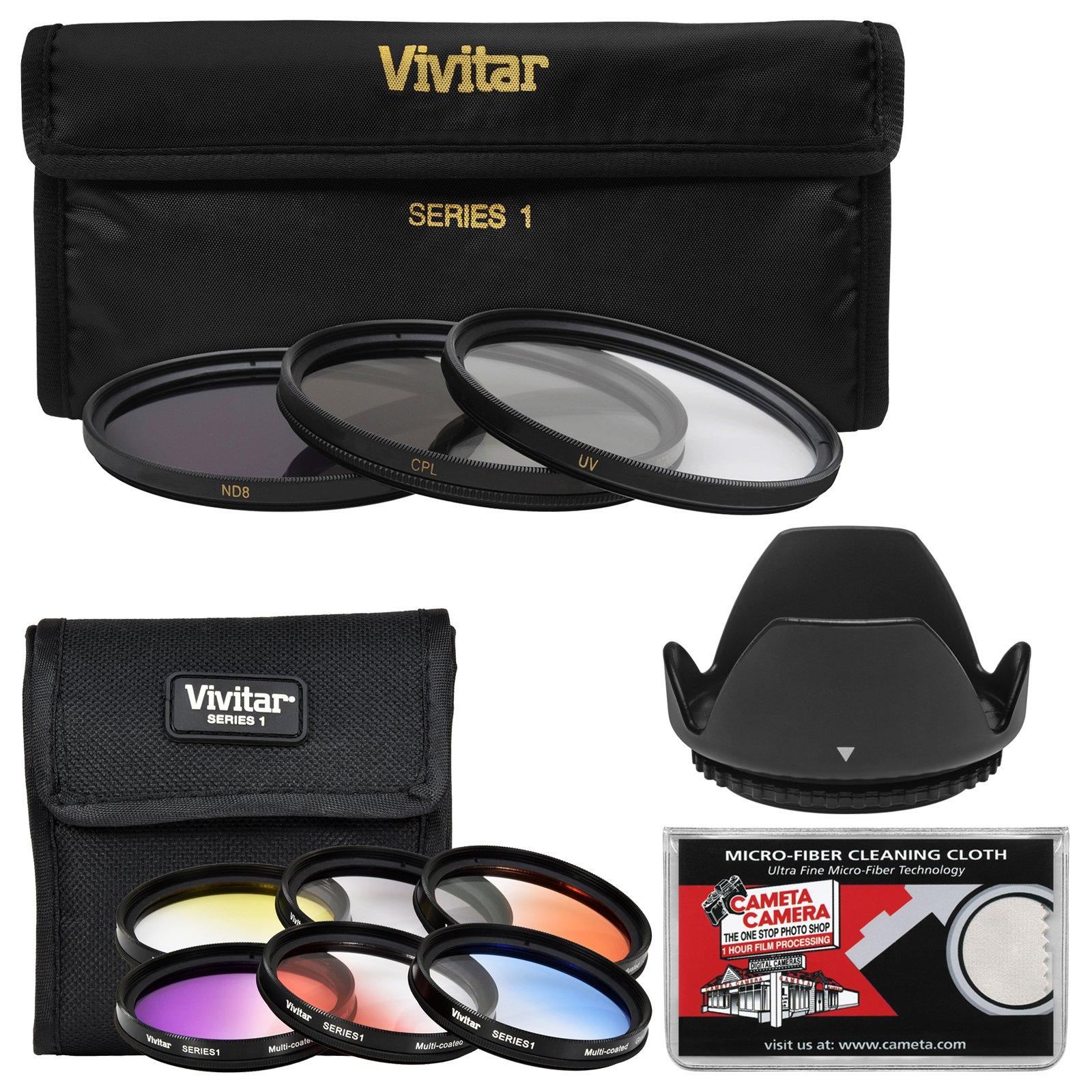 Vivitar 49mm 9-Piece Multi-Coated HD Filter Set (UV/CPL/ND8, 6 Graduated Color Filters) + Lens Hood + Kit