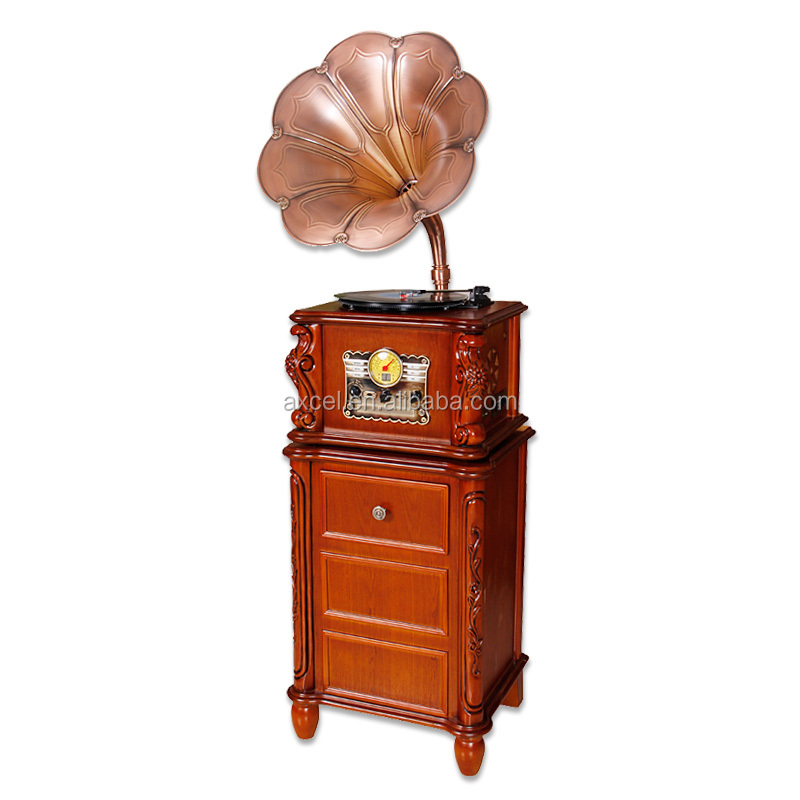 antique wooden,turntable vinyl record player gramophone with CD/MP3/cassette radio/bluetooth/usb player usb encoding